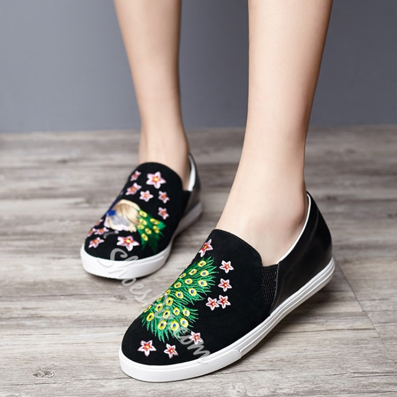 Shoespie Casual Black Peacock Loafers