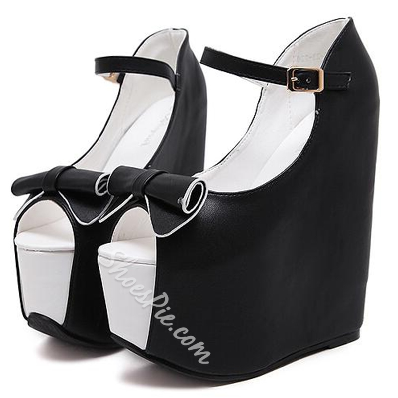 Shoespie Black and White Super High Wedge Sandals