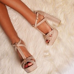 Shoespie Light Apricot Cross Wrap Platform Sandals