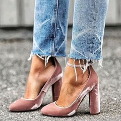 Shoespie Pink Velvet Ankle Wrap Chunky Pumps
