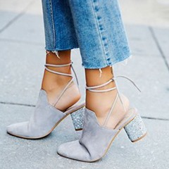 Shoespie Light Gray Backless Lace Up Chunky Heel Pumps