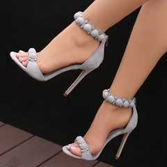 Shoespie Date Out Pompom Accented Dress Sandals