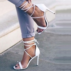Shoespie Simply White Lace Up Dress Sandals