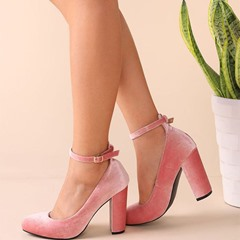 Shoespie Spring New Velvet Ankle Wrap Chunky Pumps