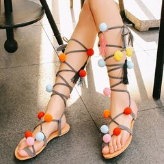 Shoespie Greek Colorful Balls Decorated Lace Up Sandals