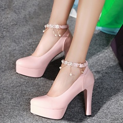 Shoespie Chic Ankle Wrap Platform Heels