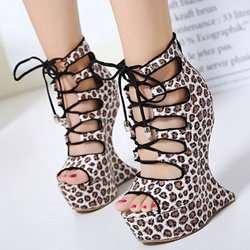 Shoespie Leopard Lace Up Shaped Heel Sandals