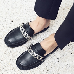 Shoespie Black Chains Decorated Round Toe Flat Mules