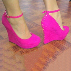 Shoespie Back Rivets Ankle Wrap Wedge Heels