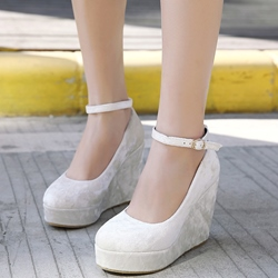 Shoespie Chic Velvet Solid Color Ankle Wrap Wedge Bridal Shoes