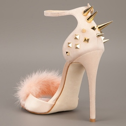 Shoespie Spikes and Fur Heel Sandals