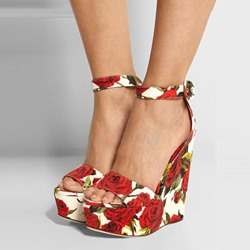Shoespie Flower Print Wedge Sandals