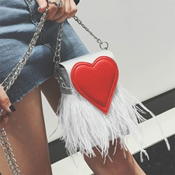 Shoespie Stylish Sweetheart Feather Patchwork Crossbody Bag
