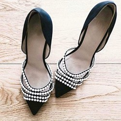 Shoespie Sexy Black Bead Trimmed Stiletto Heels