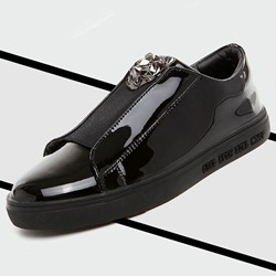 Shoespie Patent Leather Metal Decoration Men's Loafers