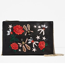 Shoespie Stylish Black Embroidered All in One Bag