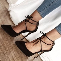 Shoespie Sezy Black Lace Up Stiletto Heels