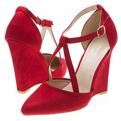 Shoespie Cute Red Cross Wrap Wedge Heels