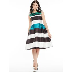Round Neck Zipper Sleeveless Color Block Stripe Day Dress