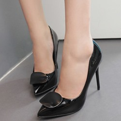Shoespie Plain Shine Color Pointed Toe Stiletto Heels