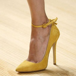 Shoespie Yellow Wear to Work Ankle Wrap Stiletto Heels