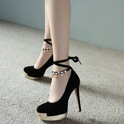 Shoespie Black Ankle Weave Chain Lace Up Platform Heels