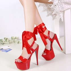 Shoespie Ribbons Lace Up Platform Heel Sandals