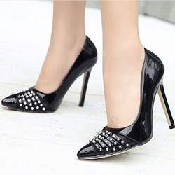 Shoespie Gorgeous Rivets Cap Toe Stiletto Cheap Heels