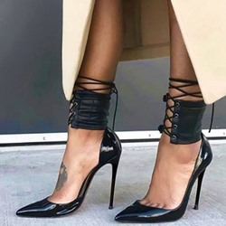 Shoespie Black Shine Leather Ankle Corset Stiletto Heels
