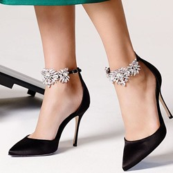 Shoespie Gorgeous Black Rhinestone Ankle Wrap Stiletto Heels