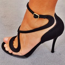 Shoespie Transparency Black Sandals