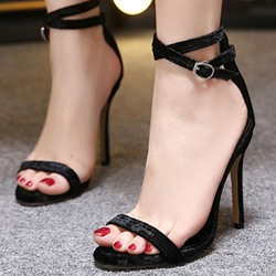 Shoespie Velvet Solid Color Strap Dress Sandals