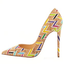Shoespie Yellow Chevron Print Stiletto Heels
