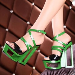 Shoespie Color Contrast Cutout Sole Cross Straps Platform Dress Sandals