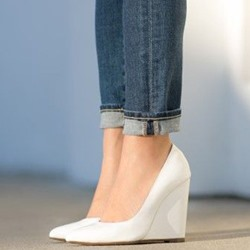 Shoespie Gorgeous Spring White Wedge Pumps