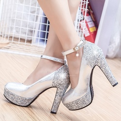 Shoespie Enchanted Glitter Patchwork Platform Heels