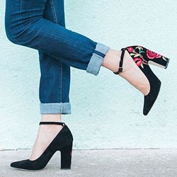 Shoespie Black Wear to Work Embroidered Pumps