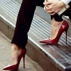 Shoespie Shine Leather Red Stiletto Heels