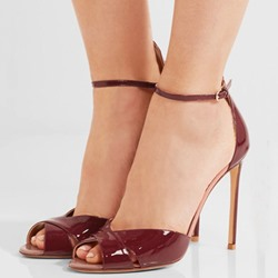 Shoespie Chic Burgundy Ankle Wrap Stiletto Heels