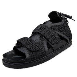 Shoespie Black Leather and Mesh Men's Roman Sandals