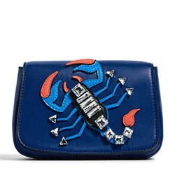 Shoespie Blue Scorpion Appliqued Crossbody Bag