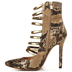 Shoespie Stylish Snake Pattern Caged Fashion Booties
