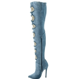 Shoespie Denim Blue Worn Out Knee High Stiletto Boots