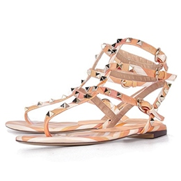 Shoespie New Rivets Colorful Srtrappy Flat Sandals