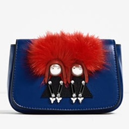 Shoespie Blue Cute Cartoon Furry Crossbody Bag