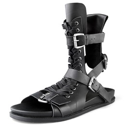 Shoespie Unique Black Lace Up Buckled Men's Gladiator Sandals