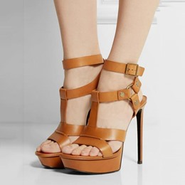 Shoespie Buckle Rivet Platform Sandals