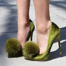Shoespie Solid Color Pompom Accented Stiletto Heels