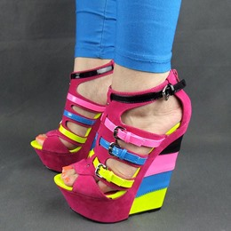 Colorful Peep-toe Buckle Wedge Sandals