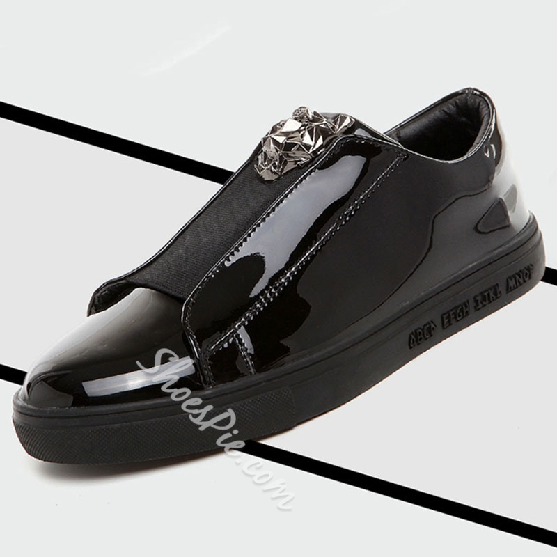 Shoespie Patent Leather Thread Decoration Men's Loafers